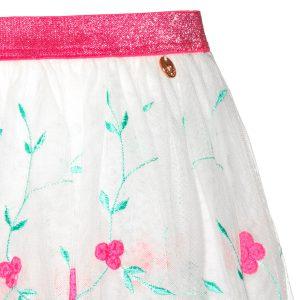 Mim Pi Witte meisjes rok met geborduurde bloemen en knal roze tailleband Mim 221