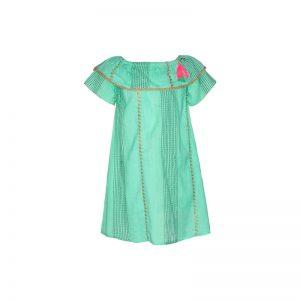 Mim Pi Mint groene meisjes jurk met korte mouwen en goud accenten Mim 223