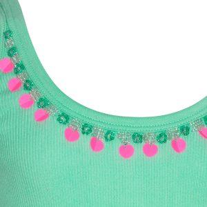 Mim Pi Mint groen meisjes hemdje opgesierd met kraaltjes en lovertjes aan de halslijn Mim 289