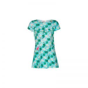 Mim Pi IJsblauw meisjes jurkje met korte mouwen opgesierd met een pluimpje in de taille Mim 294
