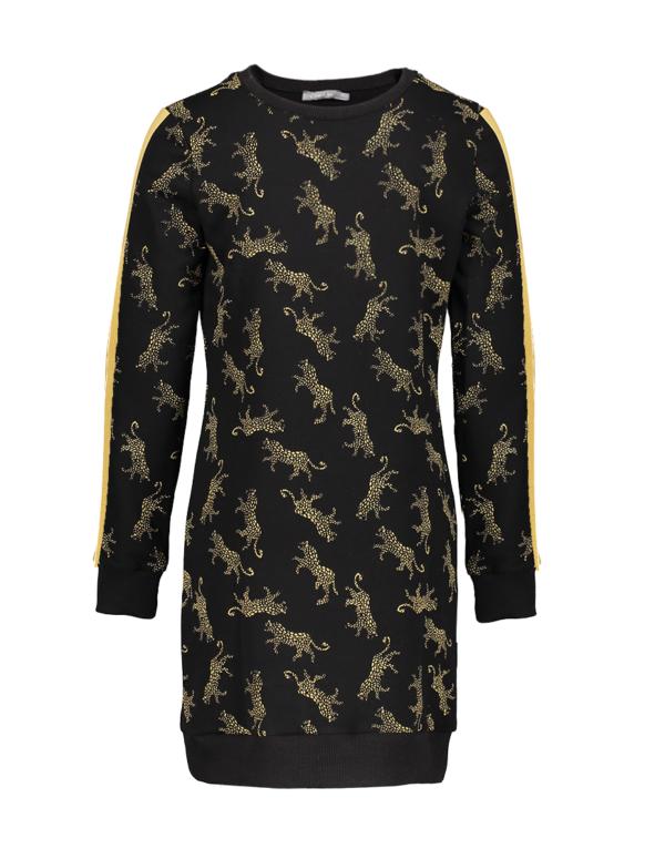 Geisha jurk Leopard met satijne streep