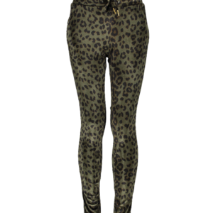 Geisha broek print green/black velvet