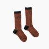 Sproet & Sprout hoge sokken in mocha kleur met de tekst MEOW in zwart.